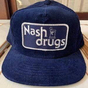 Vintage NOS 1980s Corduroy Snap Back Nash Drugs